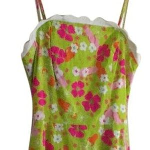 """Lilly Pulitzer Green and Pink """"Gidget Casual Dress"""
